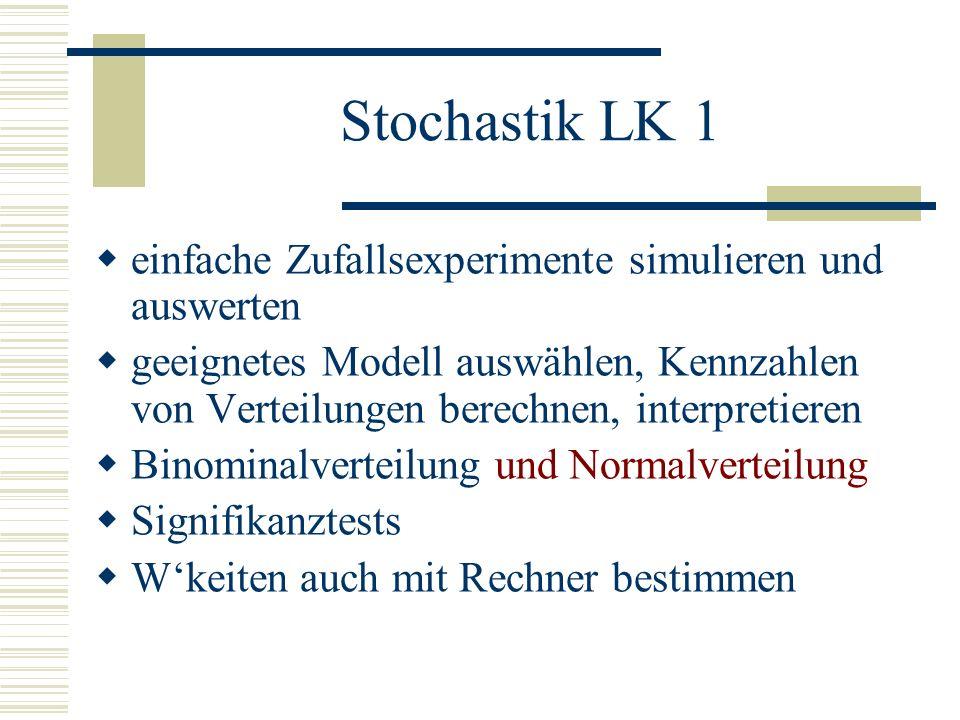Stochastik LK 1 einfache Zufallsexperimente simulieren und auswerten