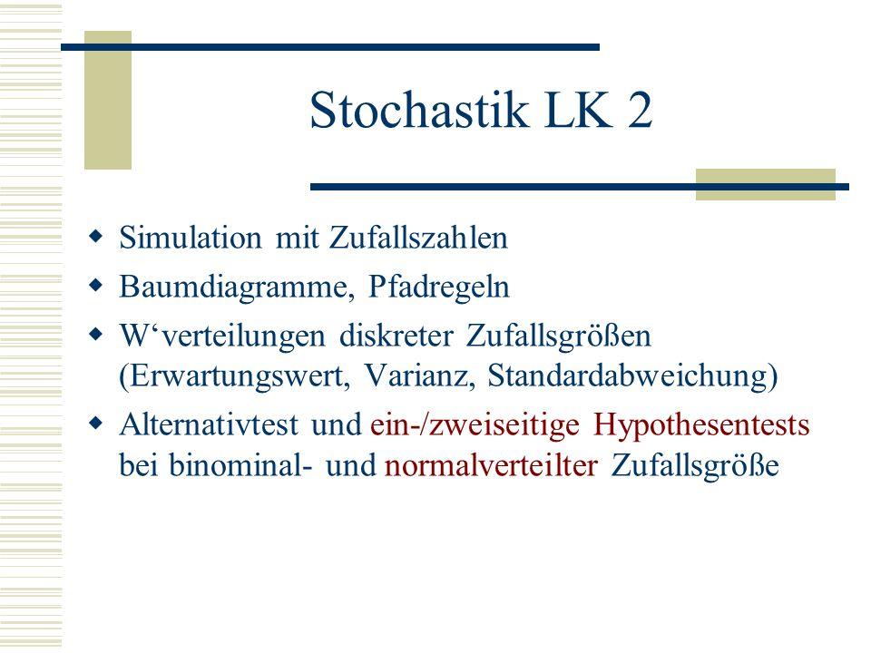 Stochastik LK 2 Simulation mit Zufallszahlen Baumdiagramme, Pfadregeln
