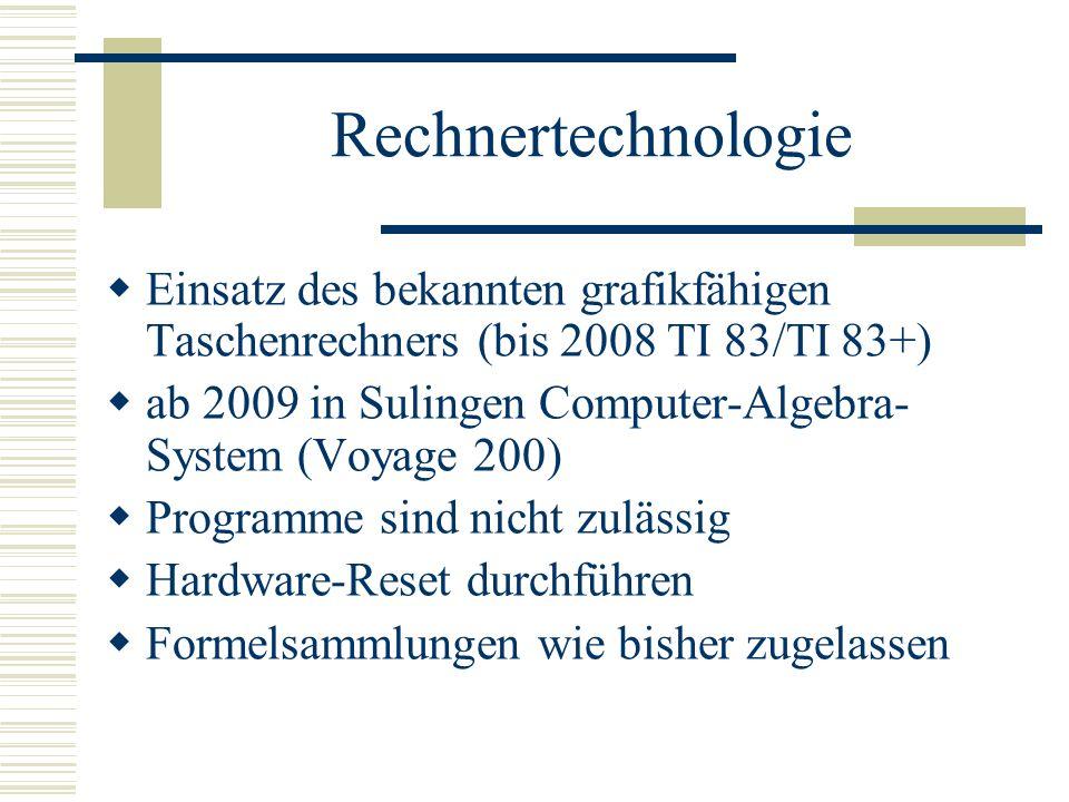 Rechnertechnologie Einsatz des bekannten grafikfähigen Taschenrechners (bis 2008 TI 83/TI 83+)