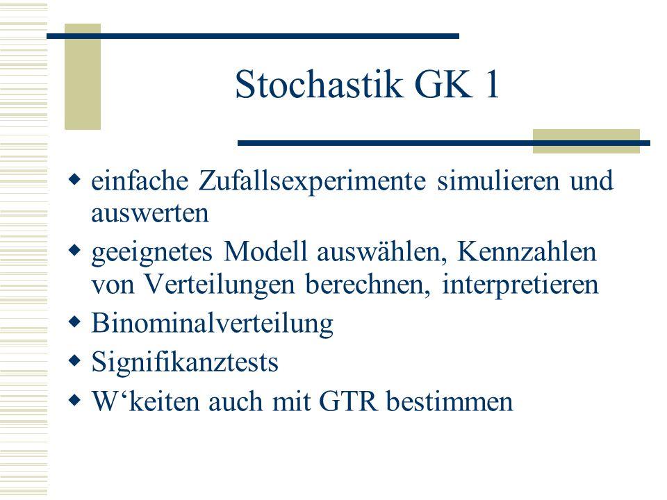 Stochastik GK 1 einfache Zufallsexperimente simulieren und auswerten