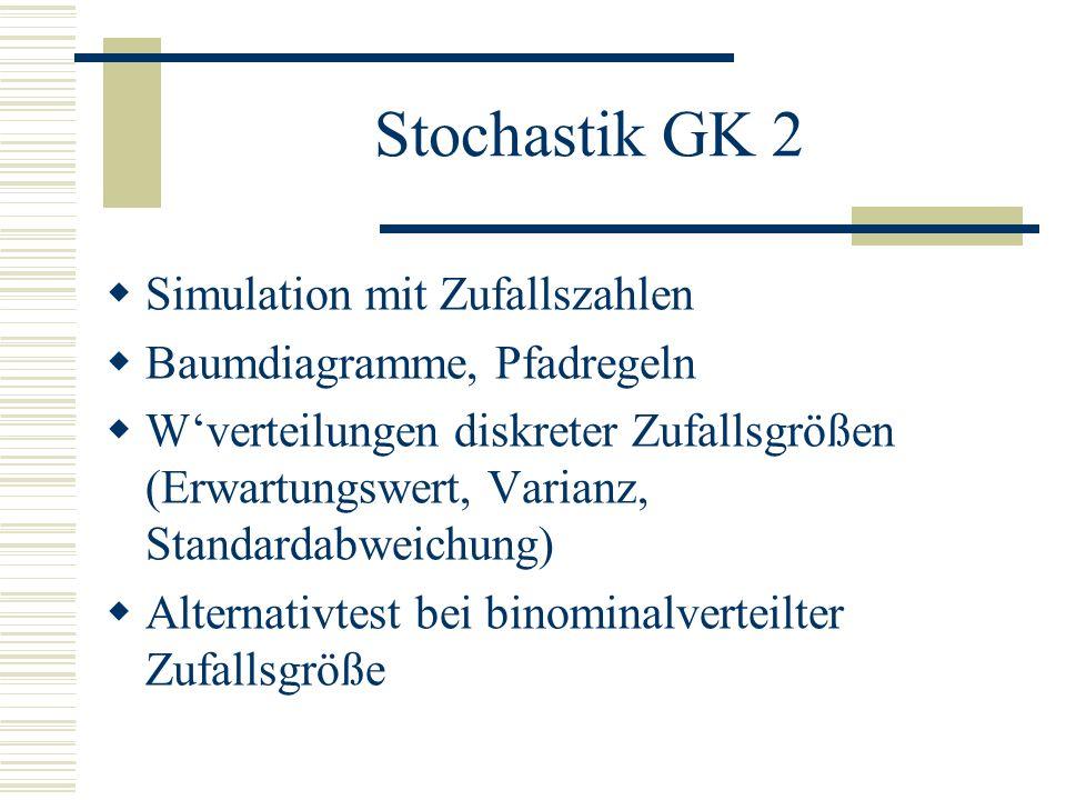 Stochastik GK 2 Simulation mit Zufallszahlen Baumdiagramme, Pfadregeln