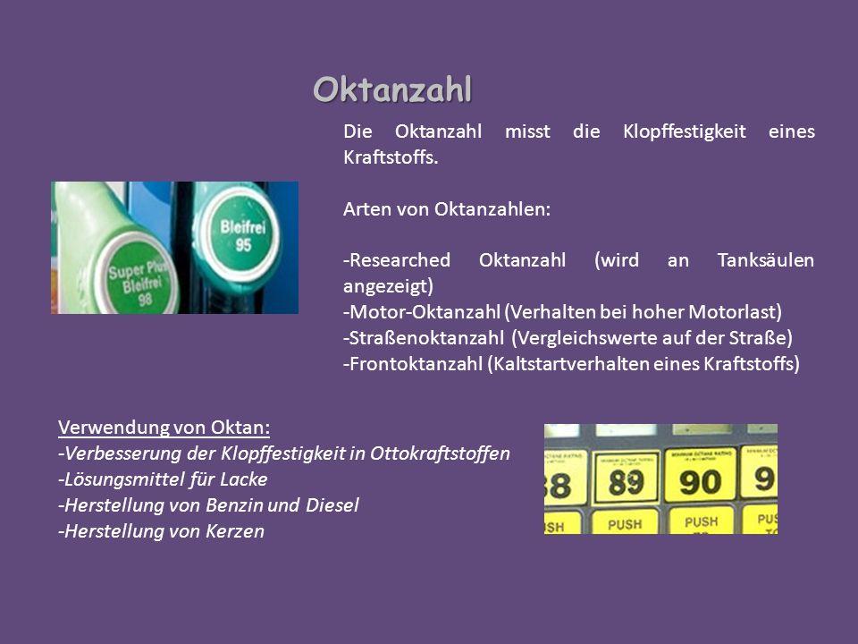 Oktanzahl Die Oktanzahl misst die Klopffestigkeit eines Kraftstoffs.