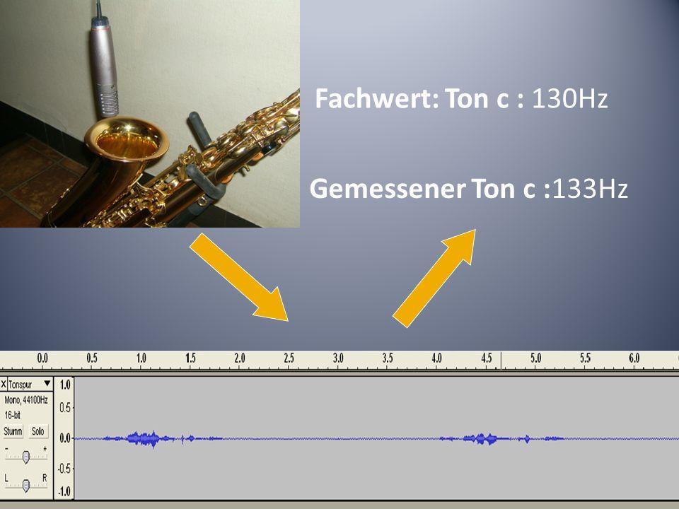 Fachwert: Ton c : 130Hz Gemessener Ton c :133Hz