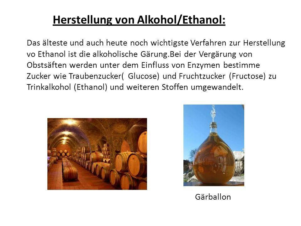 Herstellung von Alkohol/Ethanol: