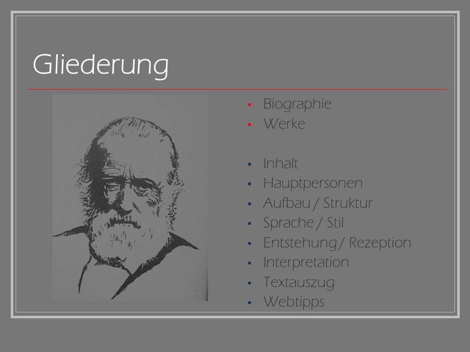 Gliederung Biographie Werke Inhalt Hauptpersonen Aufbau / Struktur