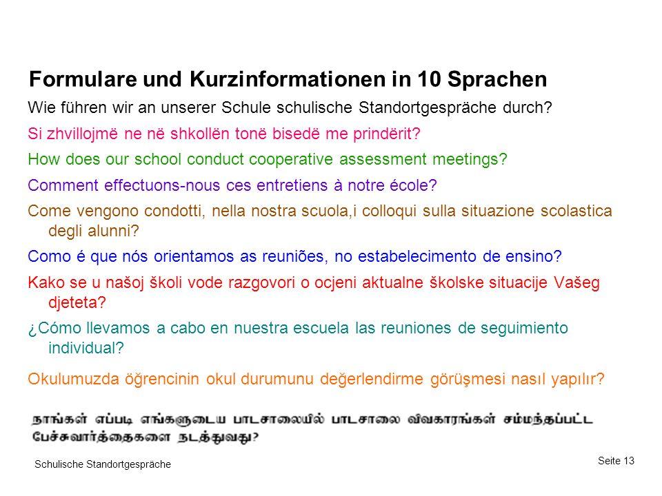 Formulare und Kurzinformationen in 10 Sprachen