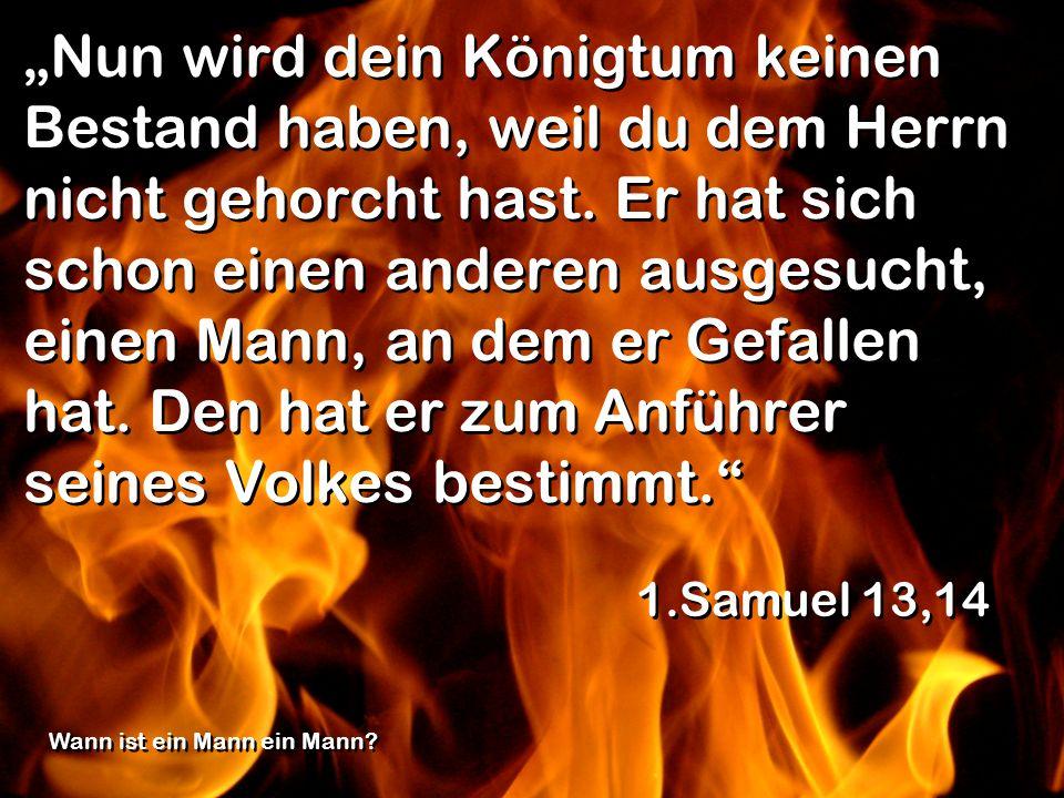 """""""Nun wird dein Königtum keinen Bestand haben, weil du dem Herrn nicht gehorcht hast. Er hat sich schon einen anderen ausgesucht, einen Mann, an dem er Gefallen hat. Den hat er zum Anführer seines Volkes bestimmt."""