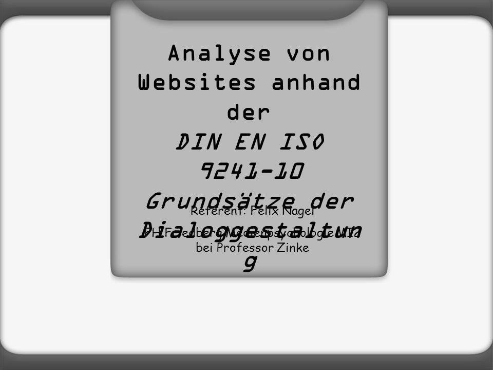 Analyse von Websites anhand der Grundsätze der Dialoggestaltung