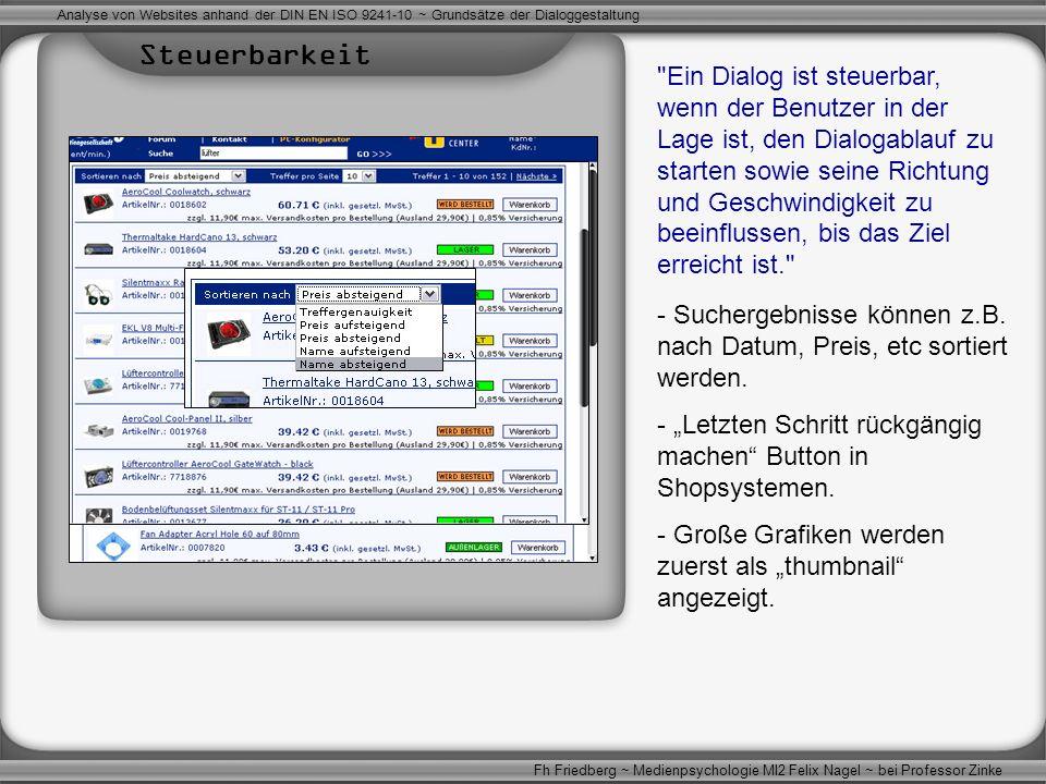 Analyse von Websites anhand der DIN EN ISO 9241-10 ~ Grundsätze der Dialoggestaltung