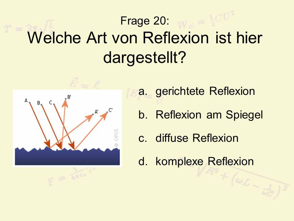 Frage 20: Welche Art von Reflexion ist hier dargestellt