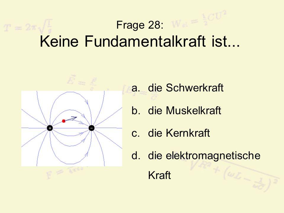 Frage 28: Keine Fundamentalkraft ist...
