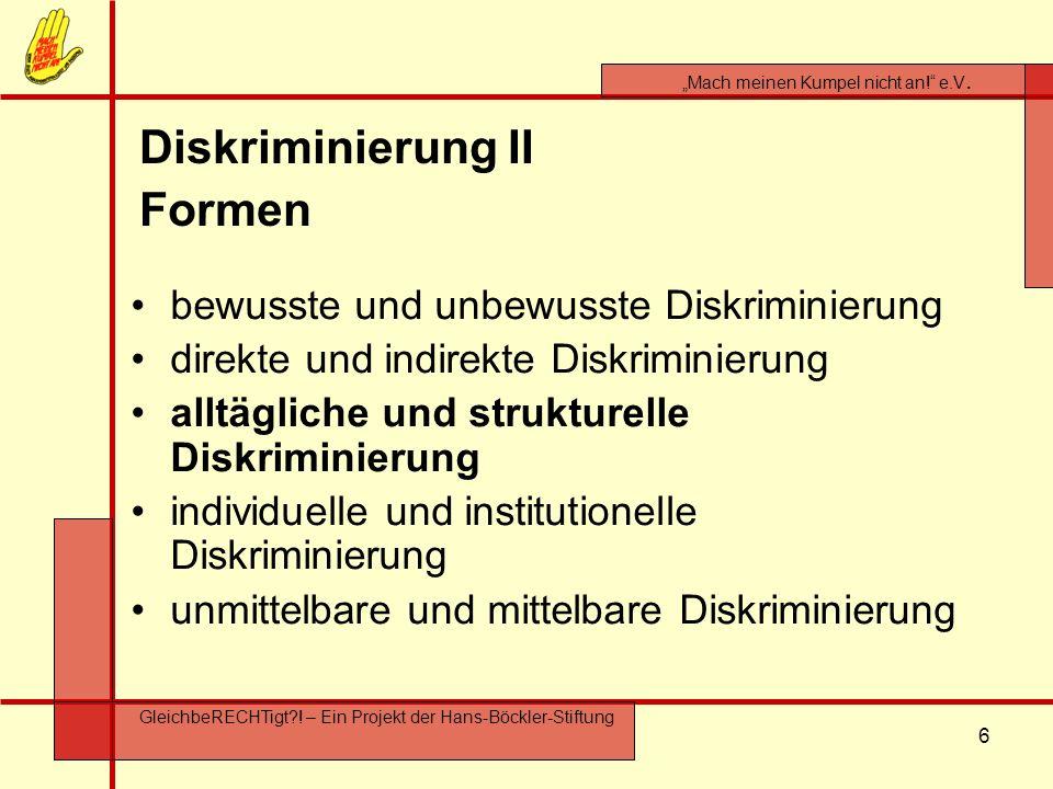 Diskriminierung II Formen