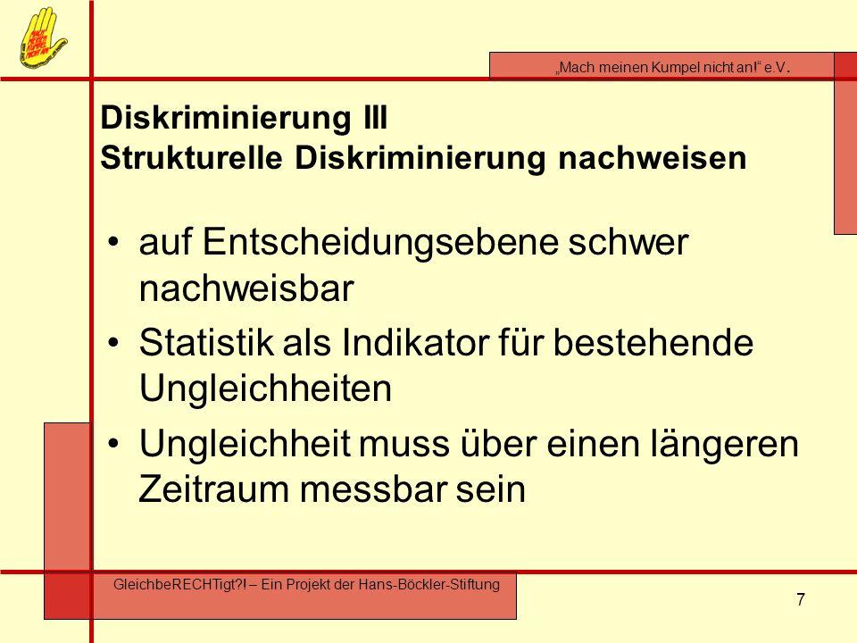 Diskriminierung III Strukturelle Diskriminierung nachweisen