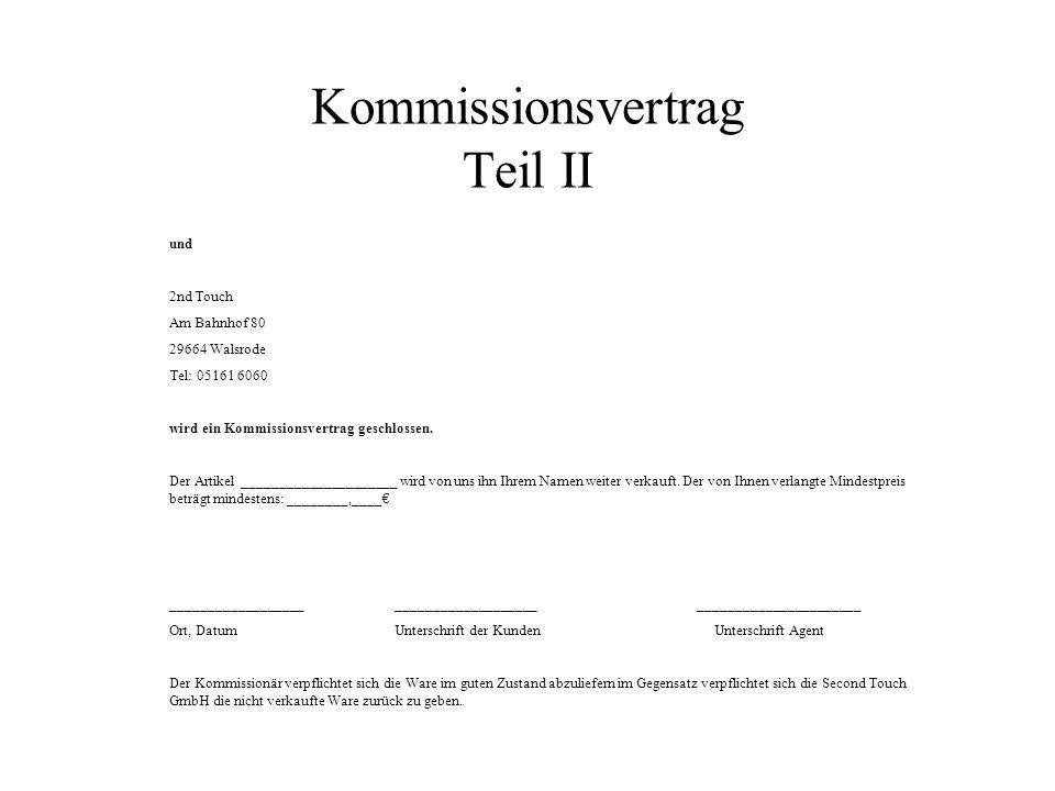 Kommissionsvertrag Teil II