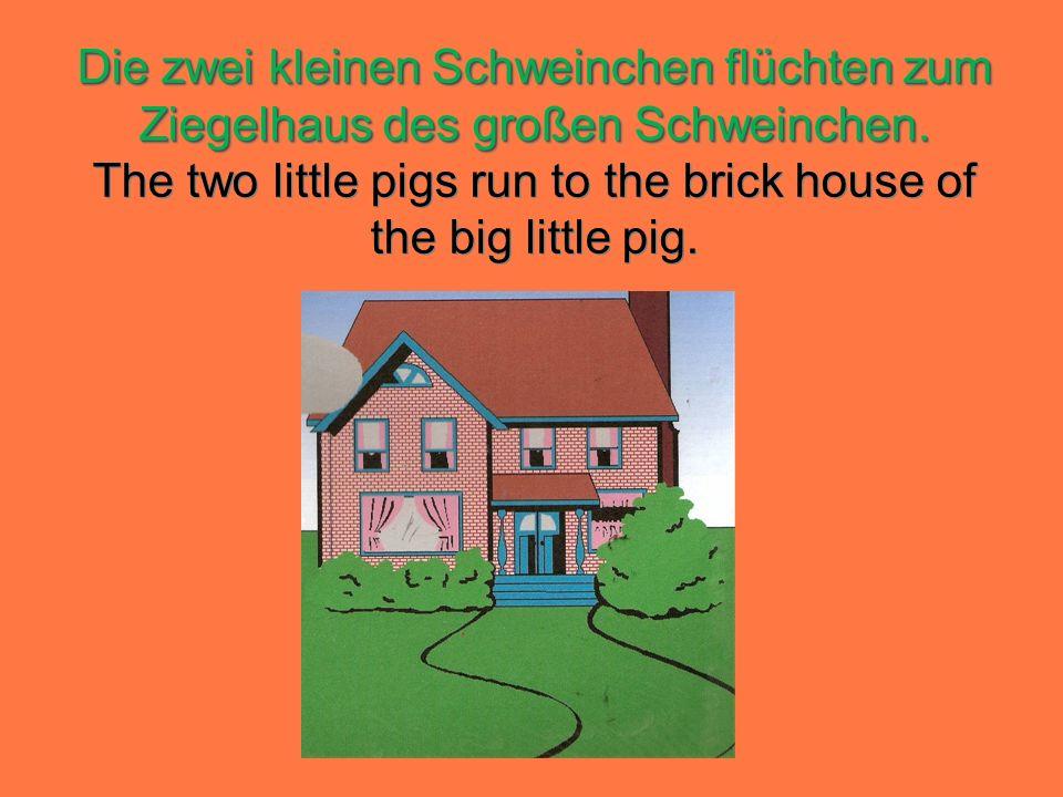 Die zwei kleinen Schweinchen flüchten zum Ziegelhaus des großen Schweinchen.