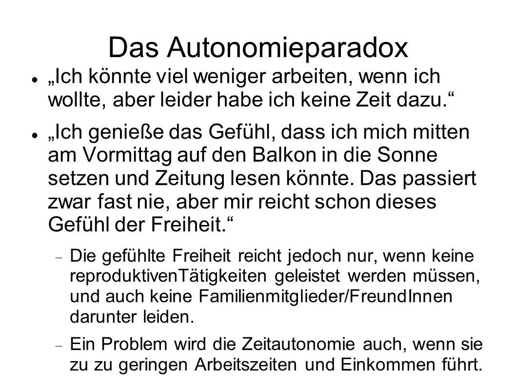 """Das Autonomieparadox """"Ich könnte viel weniger arbeiten, wenn ich wollte, aber leider habe ich keine Zeit dazu."""