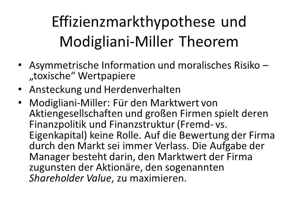 Effizienzmarkthypothese und Modigliani-Miller Theorem