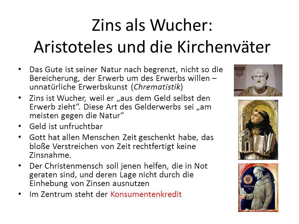 Zins als Wucher: Aristoteles und die Kirchenväter