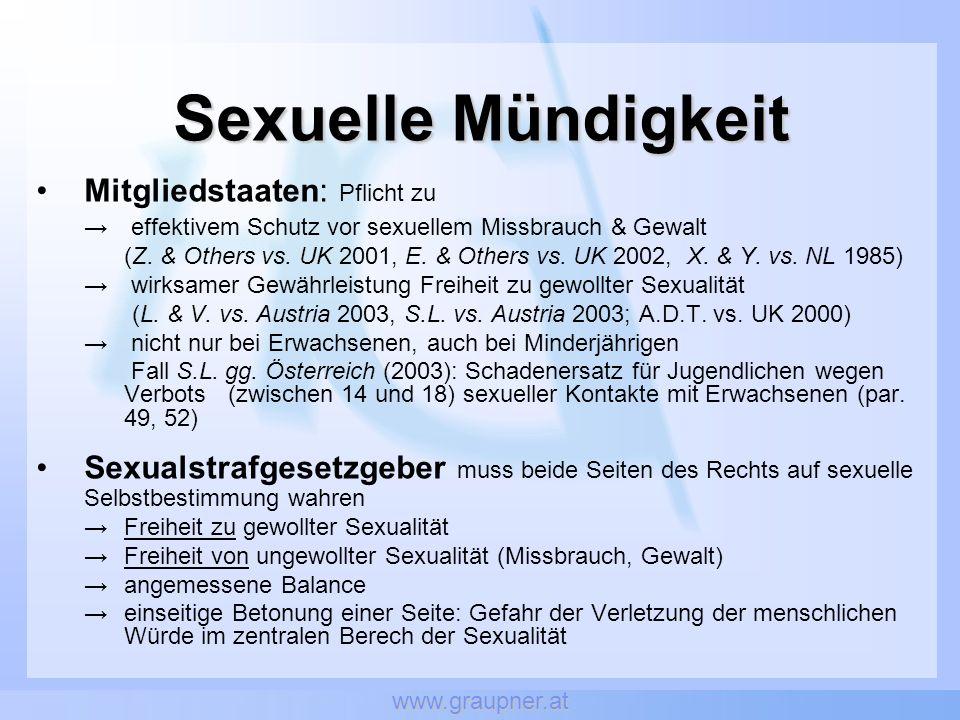 Sexuelle Mündigkeit Mitgliedstaaten: Pflicht zu
