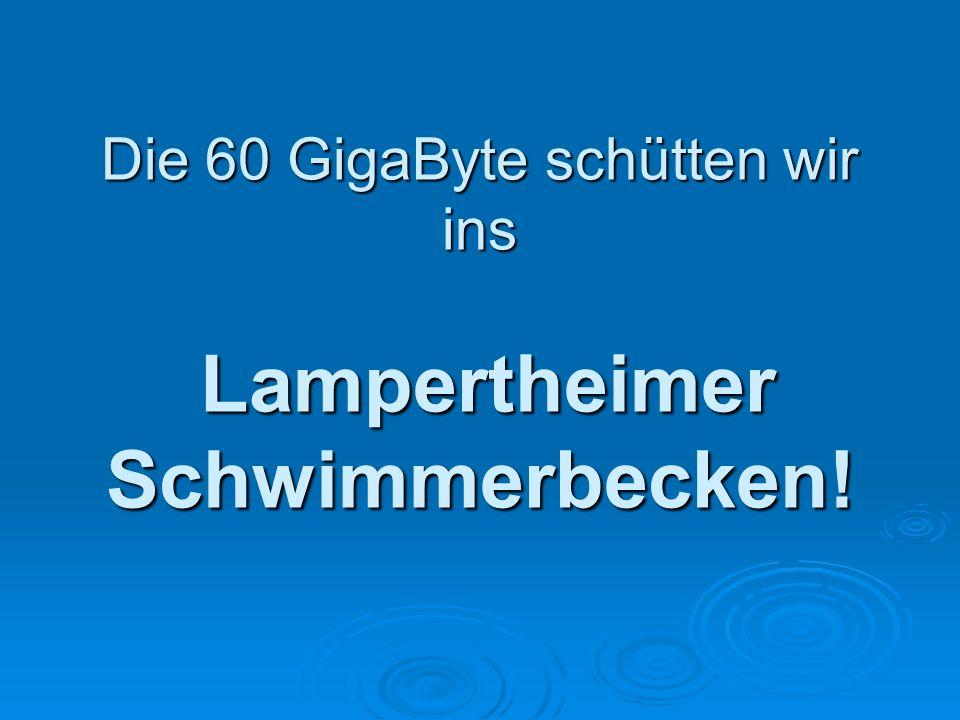 Die 60 GigaByte schütten wir ins Lampertheimer Schwimmerbecken!