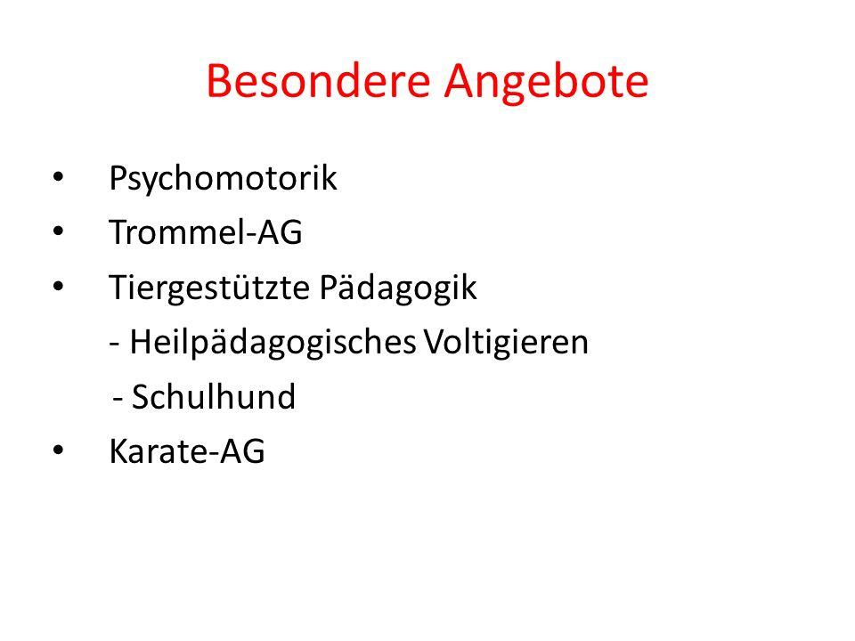Besondere Angebote Psychomotorik Trommel-AG Tiergestützte Pädagogik