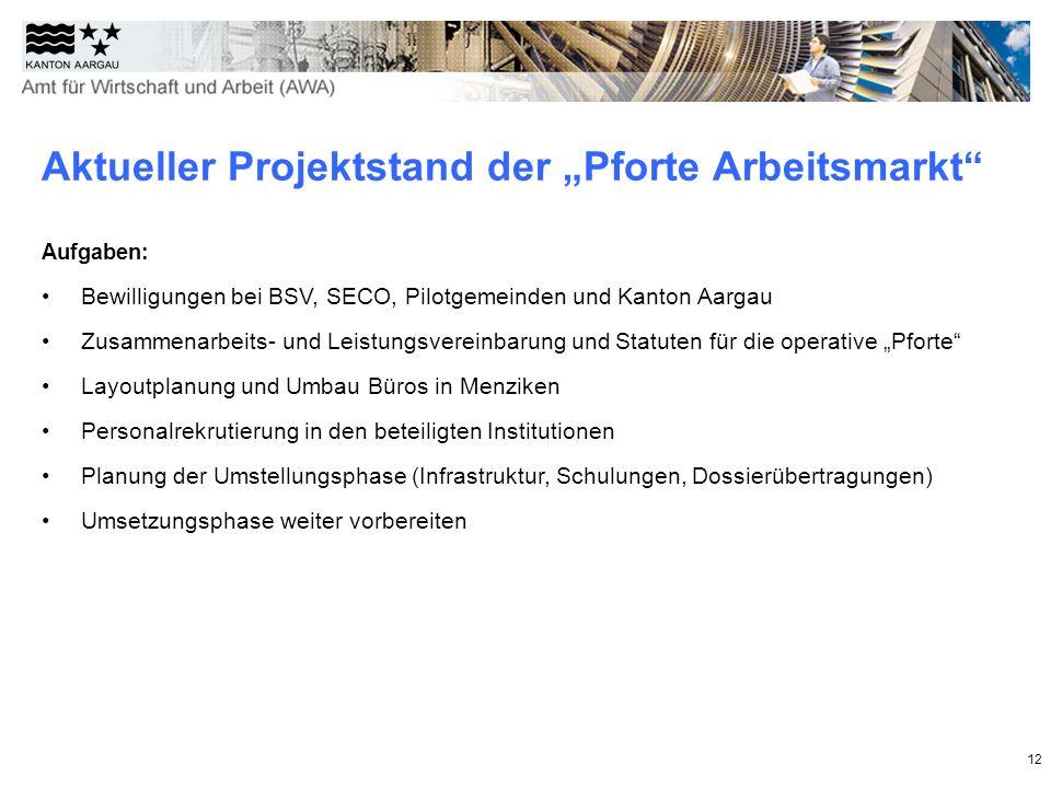 """Aktueller Projektstand der """"Pforte Arbeitsmarkt"""