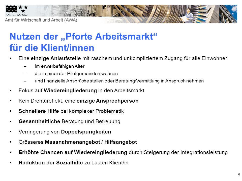 """Nutzen der """"Pforte Arbeitsmarkt für die Klient/innen"""