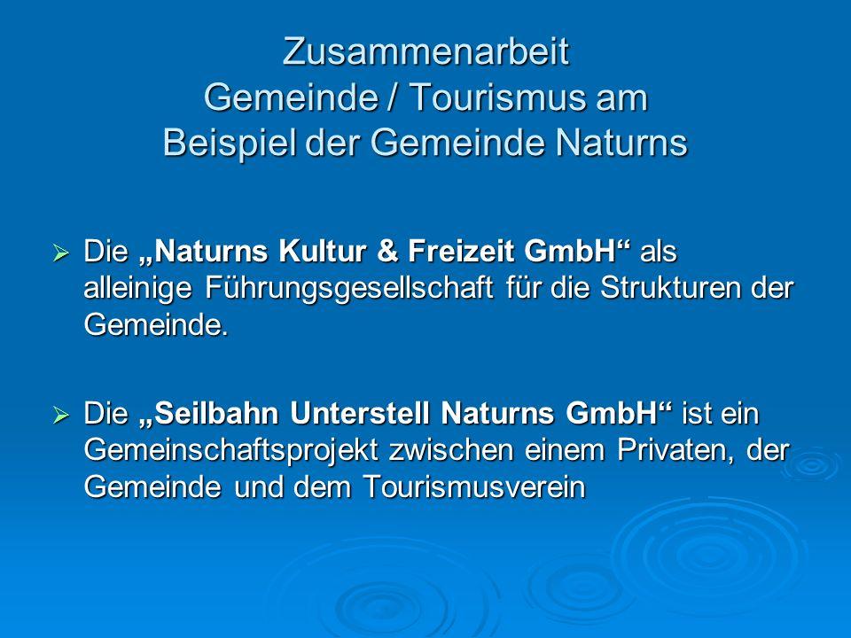 Zusammenarbeit Gemeinde / Tourismus am Beispiel der Gemeinde Naturns