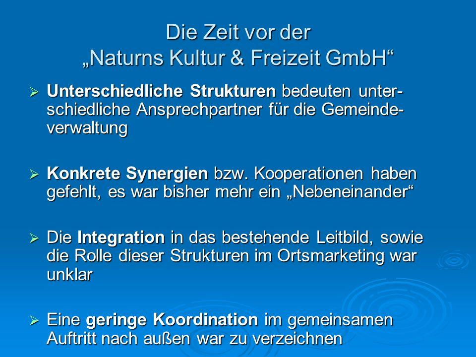 """Die Zeit vor der """"Naturns Kultur & Freizeit GmbH"""