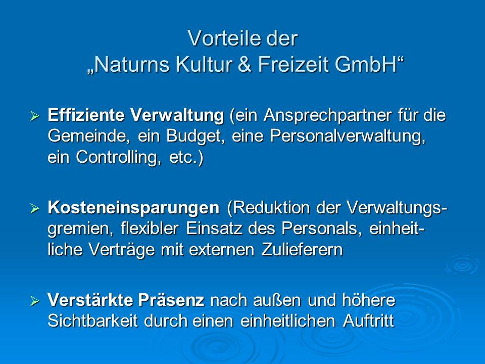 """Vorteile der """"Naturns Kultur & Freizeit GmbH"""