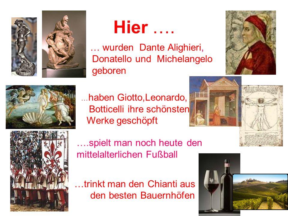 Hier …. … wurden Dante Alighieri, Donatello und Michelangelo geboren