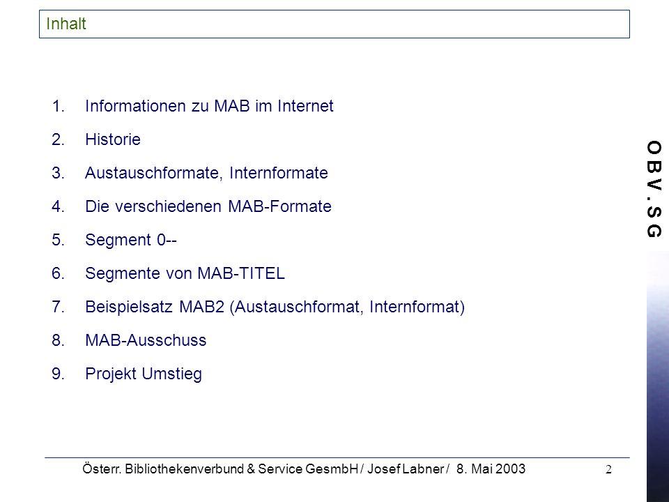 Informationen zu MAB im Internet Historie