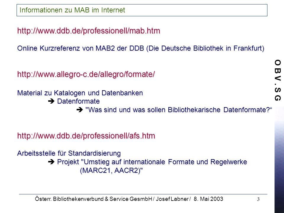 Informationen zu MAB im Internet