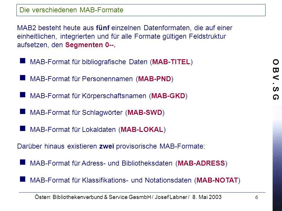 Die verschiedenen MAB-Formate