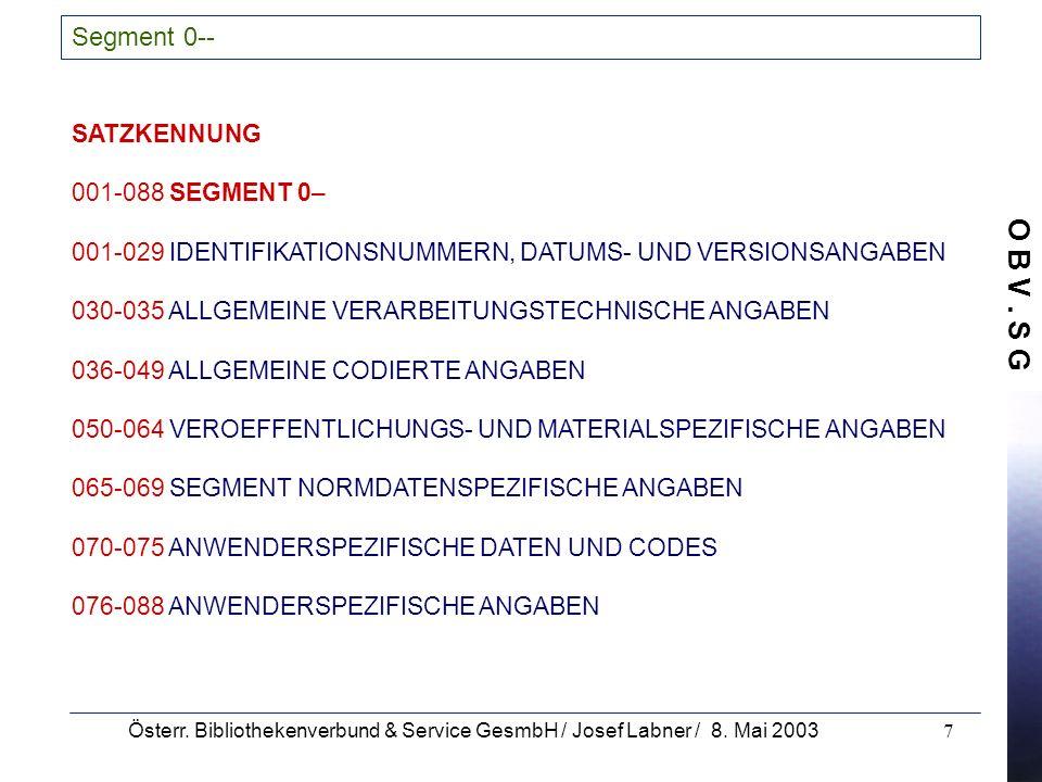 Segment 0-- SATZKENNUNG 001-088 SEGMENT 0–