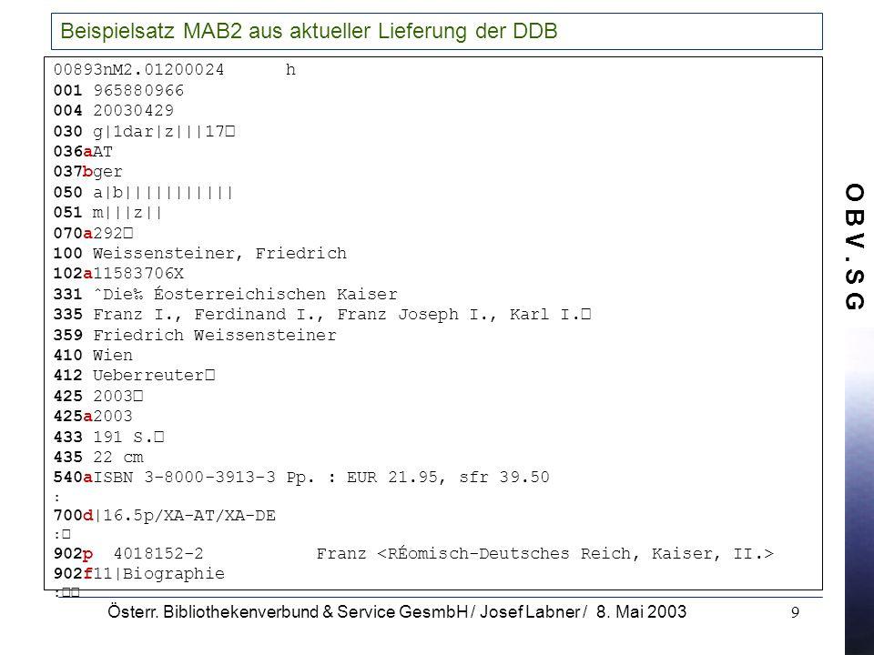 Beispielsatz MAB2 aus aktueller Lieferung der DDB