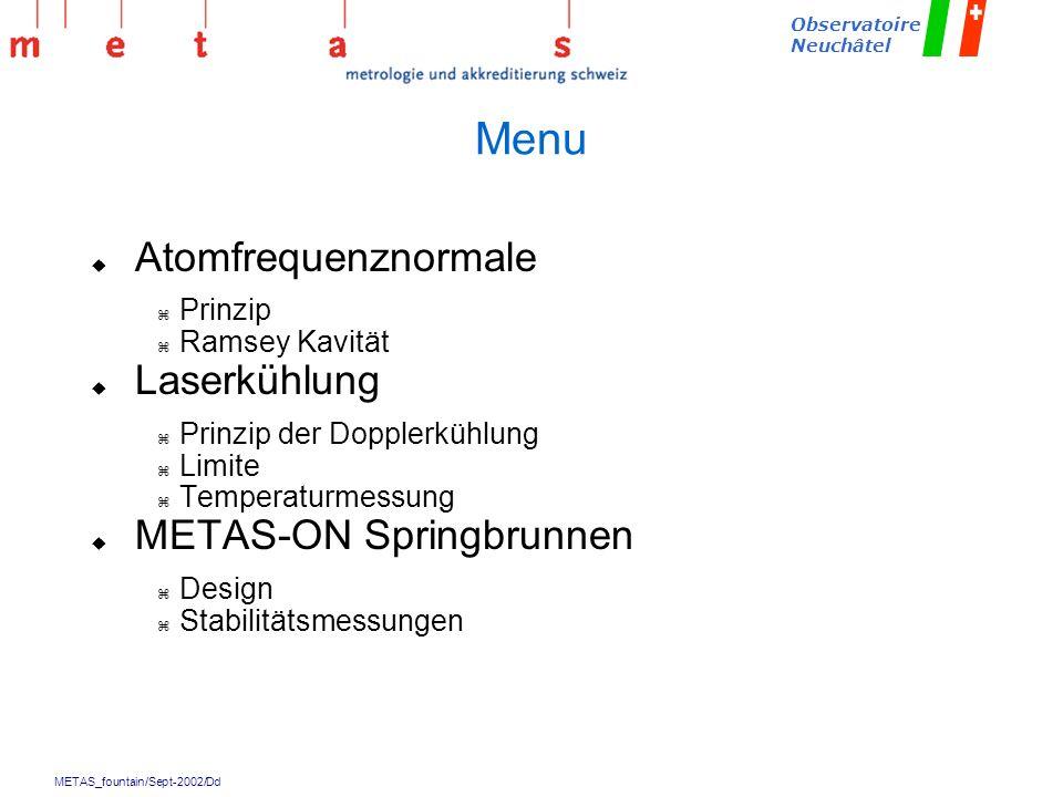 Menu Atomfrequenznormale Laserkühlung METAS-ON Springbrunnen Prinzip