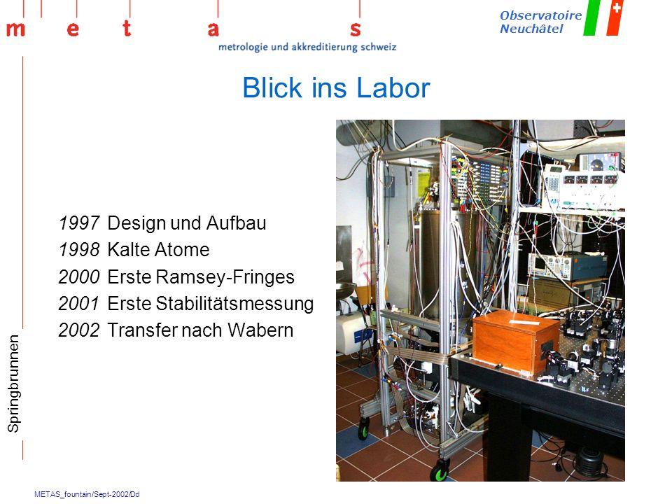 Blick ins Labor 1997 Design und Aufbau 1998 Kalte Atome
