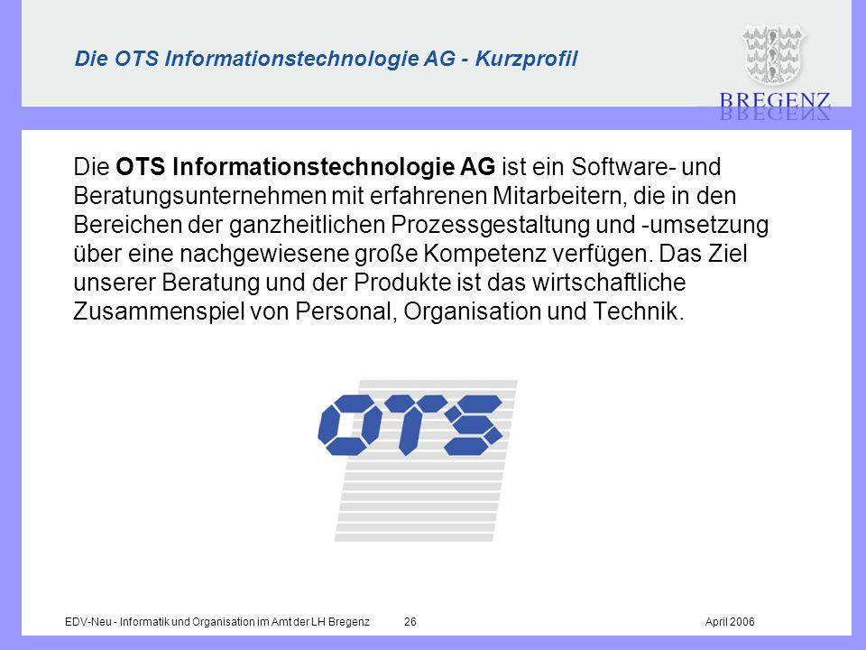 Die OTS Informationstechnologie AG - Kurzprofil