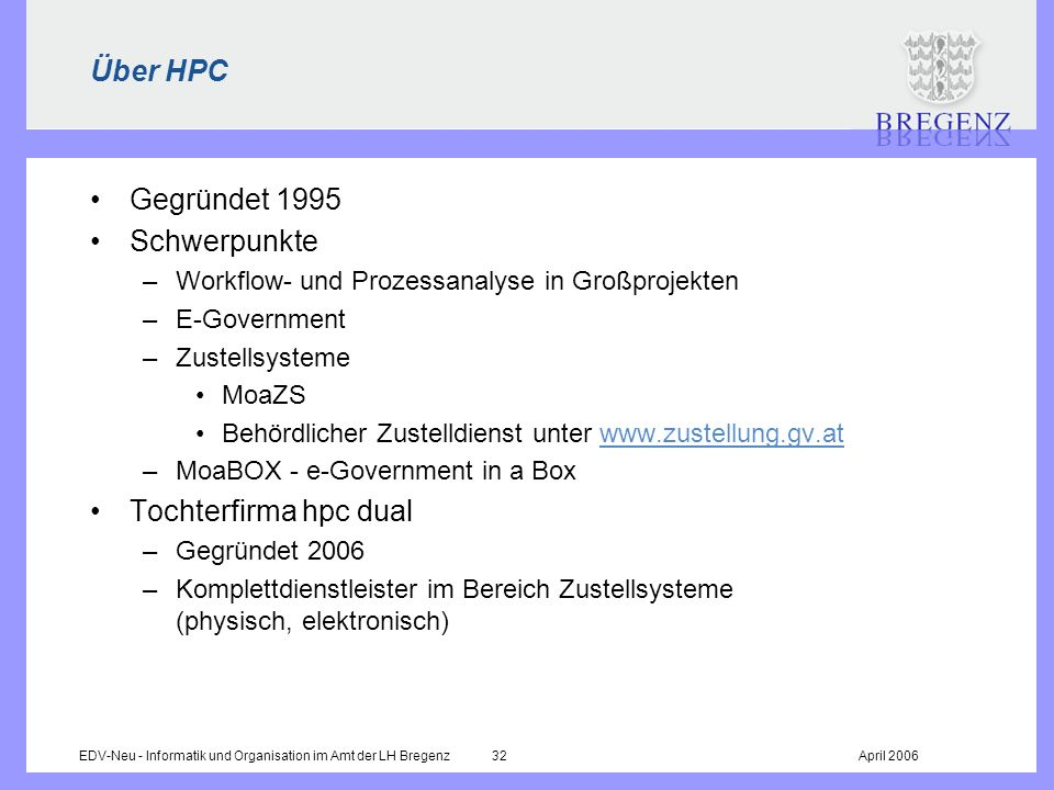 Über HPC Gegründet 1995 Schwerpunkte Tochterfirma hpc dual