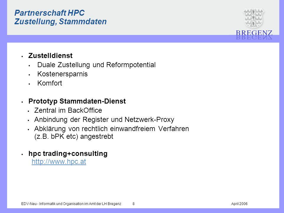 Partnerschaft HPC Zustellung, Stammdaten