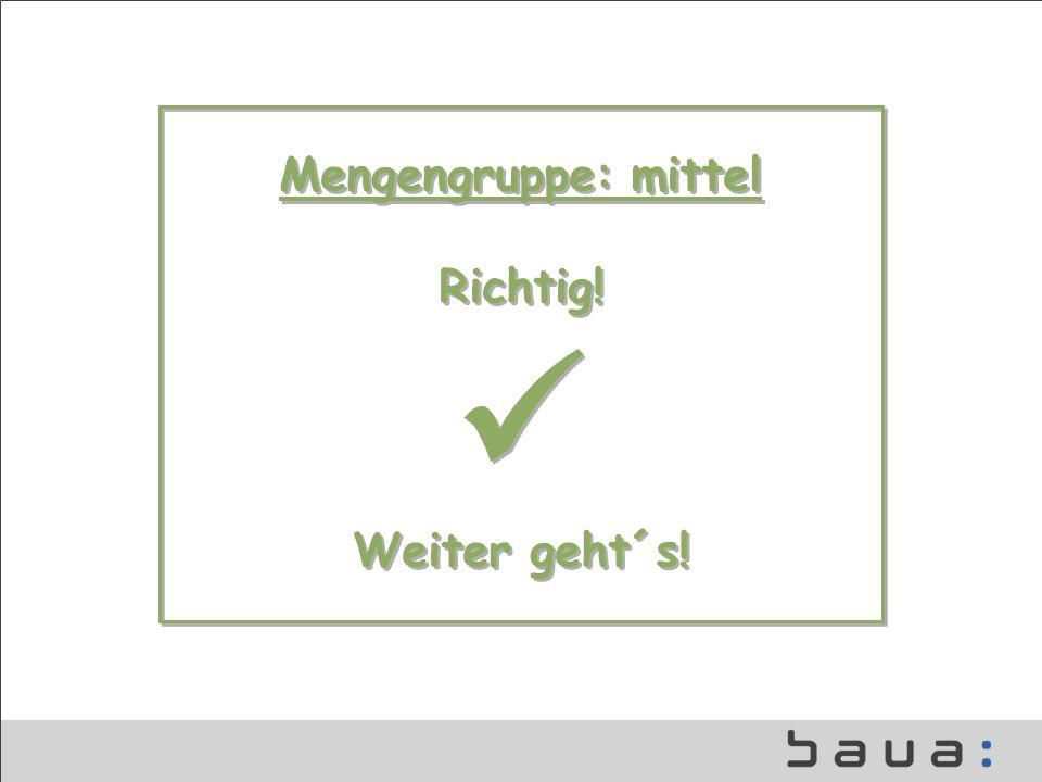 Mengengruppe: mittel Richtig!  Weiter geht´s!
