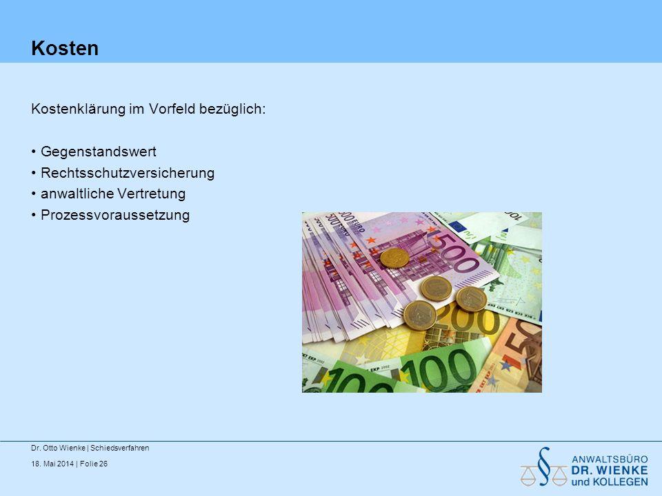 Kosten Kostenklärung im Vorfeld bezüglich: Gegenstandswert