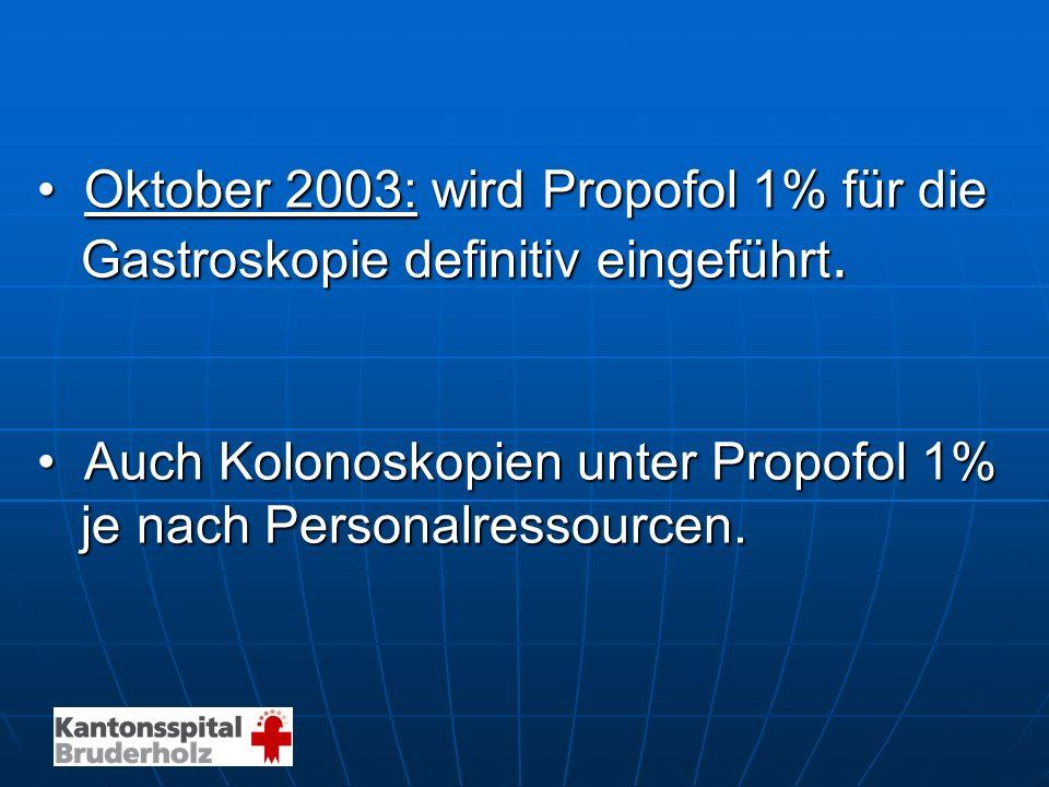 • Oktober 2003: wird Propofol 1% für die