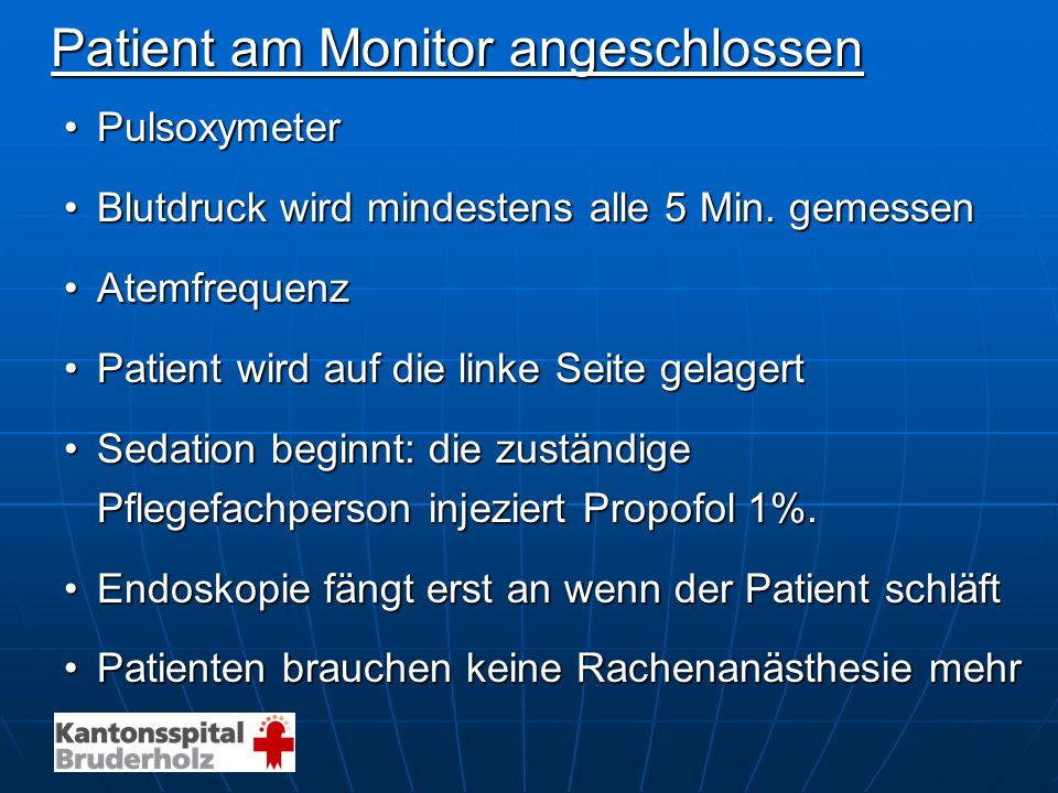 Patient am Monitor angeschlossen