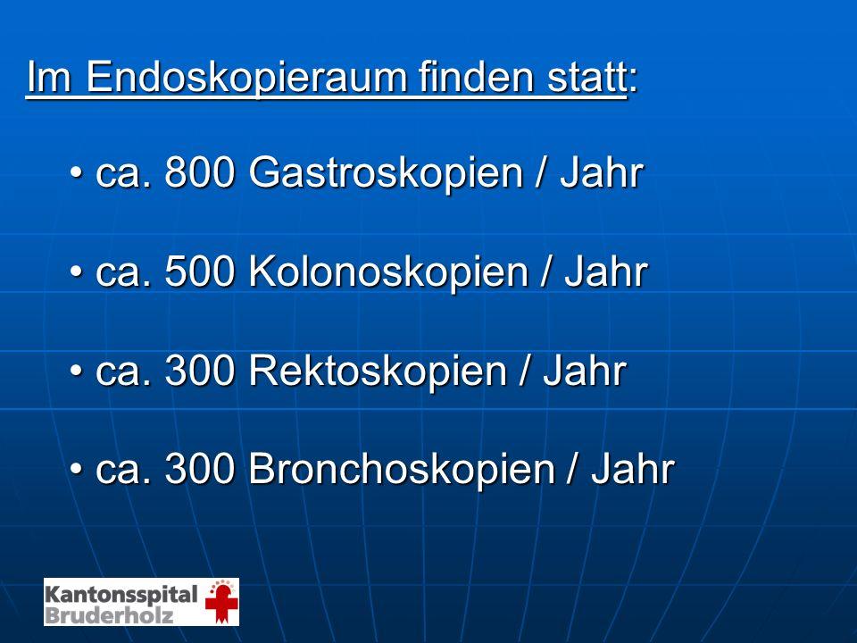 Im Endoskopieraum finden statt: