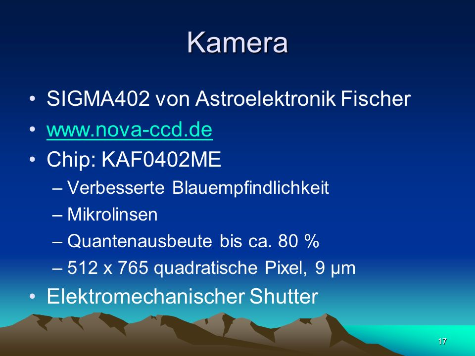Kamera SIGMA402 von Astroelektronik Fischer www.nova-ccd.de