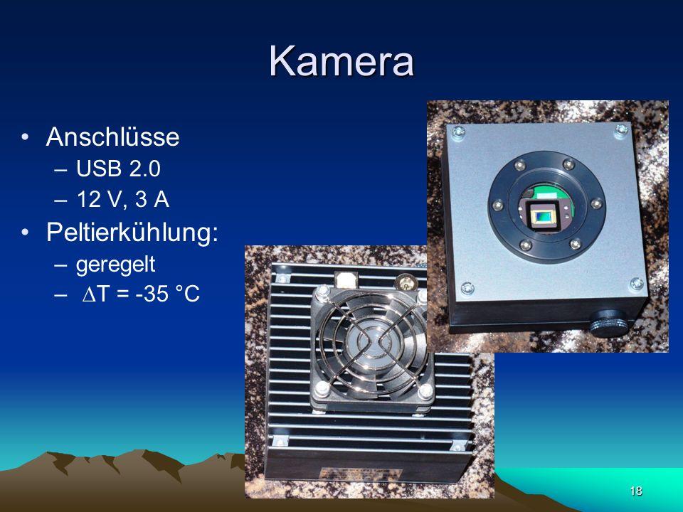 Kamera Anschlüsse Peltierkühlung: USB 2.0 12 V, 3 A geregelt