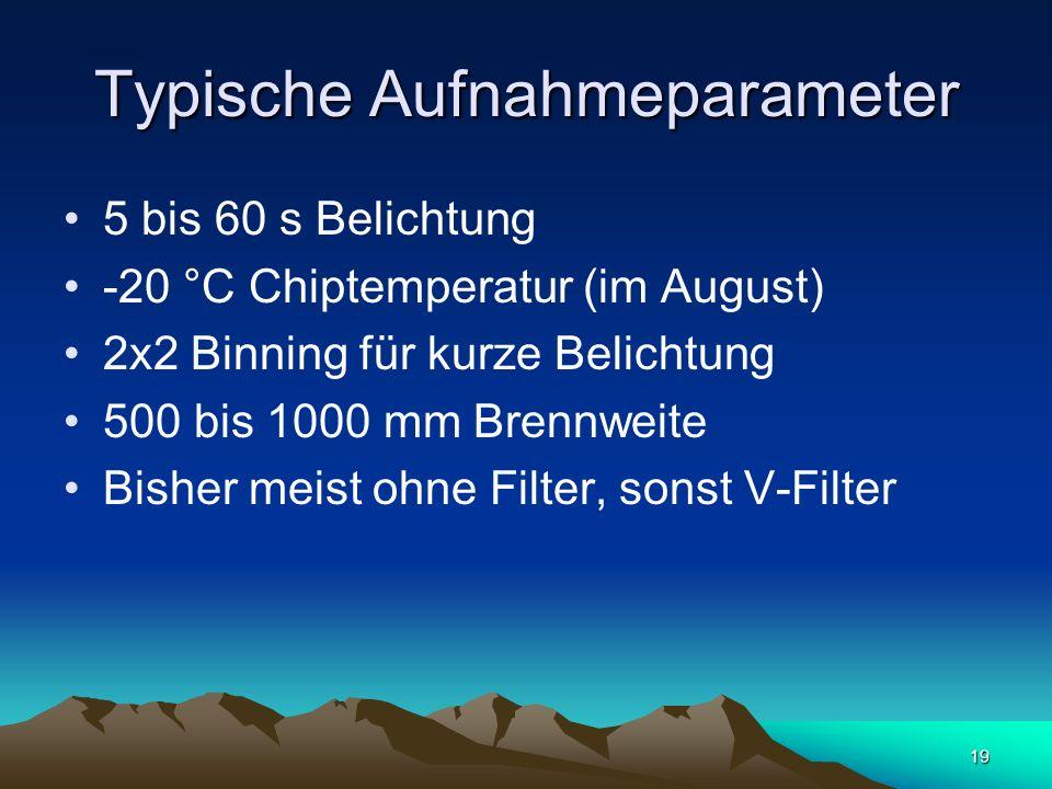 Typische Aufnahmeparameter