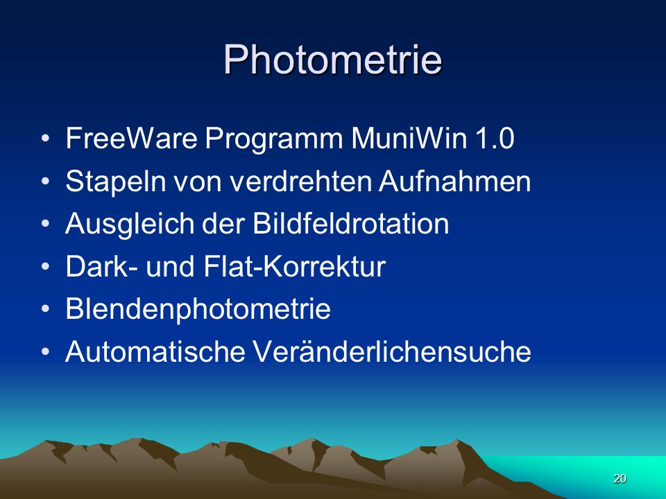Photometrie FreeWare Programm MuniWin 1.0